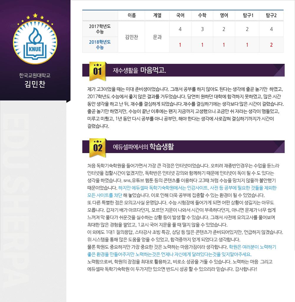 한국교원대 김민찬 후기